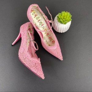 Gucci Pink Virginia Lace Pizzo Venice Pumps 38.5
